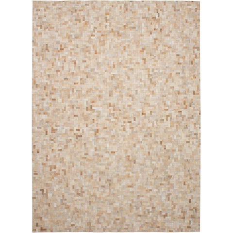 ECARPETGALLERY Handmade Cowhide Patchwork Beige, Cream Leather Rug - 9'2 x 12'3