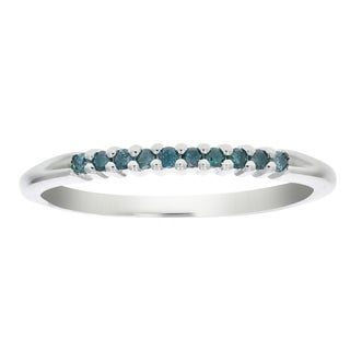1/10 CT Blue Diamond Ring Sterling Silver