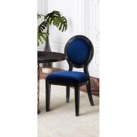 Cerused Oak Navy Chair - Set of 2