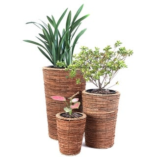 Wicker Banana Rope Tall Floor Planter with Metal Pot