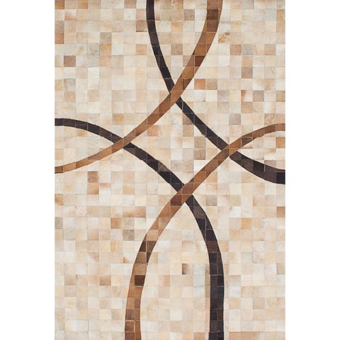 eCarpetGallery Handmade Cowhide Patchwork Cream, Tan Leather Rug