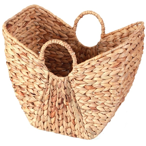 Large Wicker Laundry Basket with Round Handles. Opens flyout.