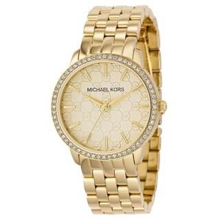 Michael Kors Women's Patterned Gold Dial Gold Stainless Steel Bracelet Watch
