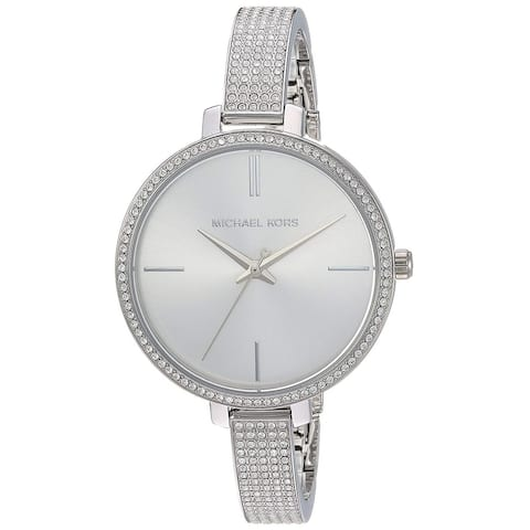 Michael Kors Women's Jaryn Crystal Pave Silver Stainless Steel Bangle Bracelet Watch