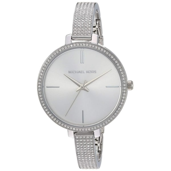 Michael Kors Women's Jaryn Crystal Pave Silver Stainless Steel Bangle Bracelet Watch. Opens flyout.