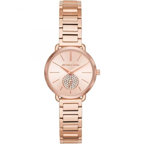 Michael Kors Women's Portia Rose Gold Stainless Steel Bracelet Watch