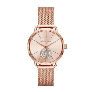 Link to Michael Kors Women's  Portia Rose Gold Stainless Steel Mesh Bracelet Watch Similar Items in Women's Watches