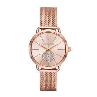 Michael Kors Women's Portia Rose Gold Stainless Steel Mesh Bracelet Watch
