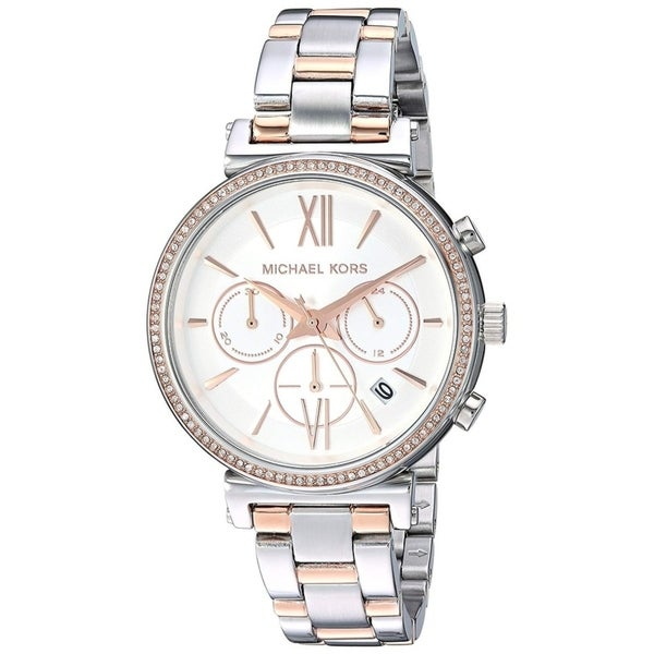 Shop Michael Kors Women's Sofie Chronograph Silver Dial Two