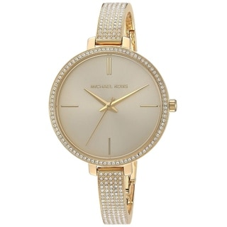 Link to Michael Kors Women's  Jaryn Crystal Pave Gold Stainless Steel Bangle Bracelet Watch Similar Items in Women's Watches