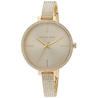 Michael Kors Women's Jaryn Crystal Pave Gold Stainless Steel Bangle Bracelet Watch