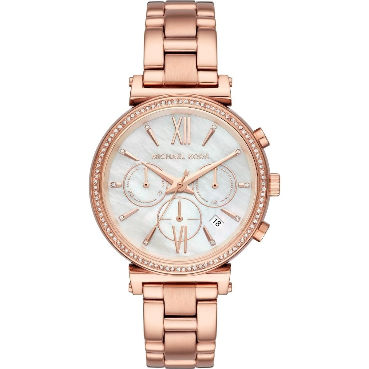 Michael Kors Womens  Sofie Chronograph Mother of Pearl Dial Rose Gold Stainless Steel Bracelet Watch