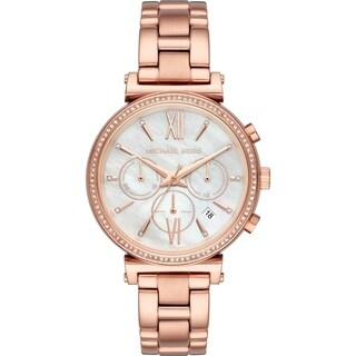 Michael Kors Women's Sofie Chronograph Mother of Pearl Dial Rose Gold Stainless Steel Bracelet Watch