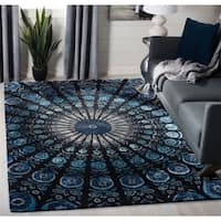 Safavieh Handmade Allure Contemporary Floral Black / Blue Wool Rug - 8' x 10'