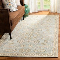 Safavieh Handmade Blossom Contemporary Floral Slate / Beige Wool Rug - 8' x 10'
