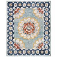 Safavieh Handmade Blossom Contemporary Floral Blue / Gold Wool Rug - 8' x 10'