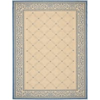 Safavieh Courtyard Indoor-Outdoor Contemporary Geometric Natural / Blue Rug - 9' x 12'