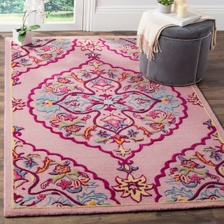 Safavieh Handmade Bellagio Contemporary Oriental Pink Wool Rug - 6' x 9'