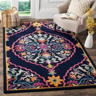 Safavieh Handmade Bellagio Contemporary Oriental Navy Blue Wool Rug - 6' x 9'