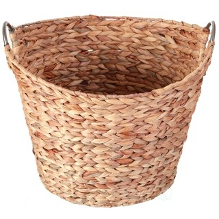 Large Round Water Hyacinth Wicker Laundry Basket with Metal Handles
