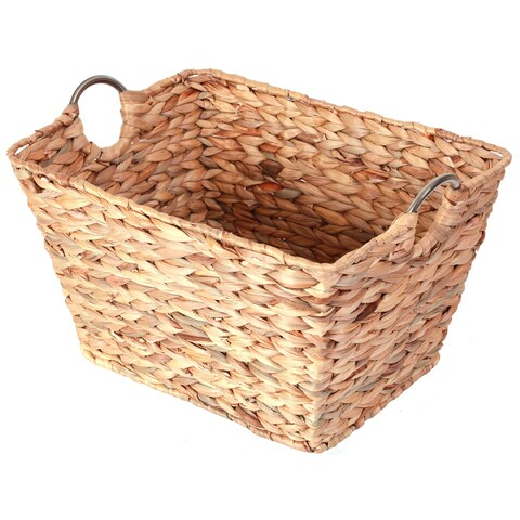 Large Square Water Hyacinth Wicker Laundry Basket with Metal Handles