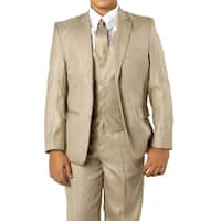 Boys Beige Suit 5 Pc Solid Classic Fit Suits