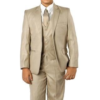 Boys Beige Suit 5 Pc Solid Classic Fit Suits