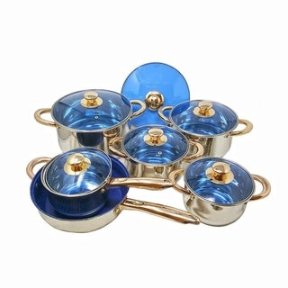 12 Piece Gourmet Stainless Steel & Gold Plate Cookware Pots & Pans Nonstick