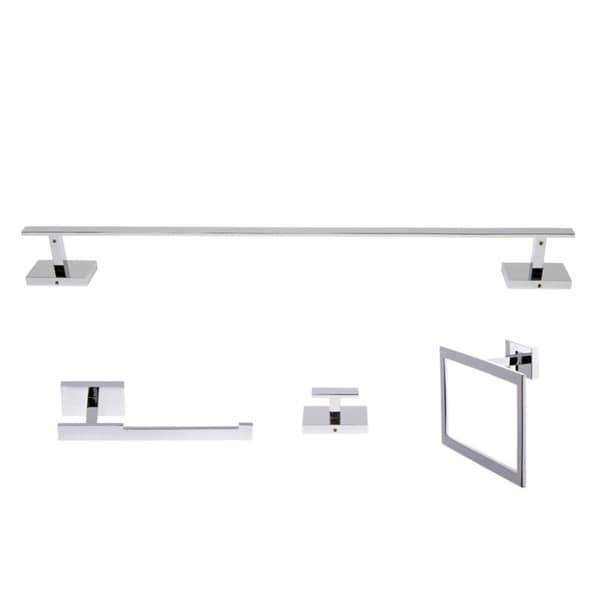 Italia Genoa Series 4 Piece Polished Chrome Bathroom Accessory Set