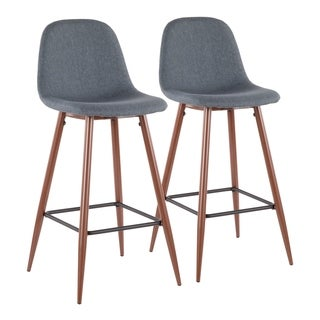 Pebble Mid-Century Bar Stool in Walnut Metal and Fabric - Set of 2