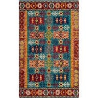 Safavieh Handmade Aspen Bohemian Southwestern Blue / Red Wool Rug - 3' x 5'