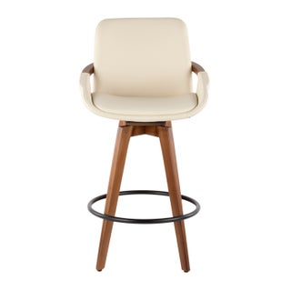 Cosmo Mid-Century Counter Stool in Walnut and Faux Leather