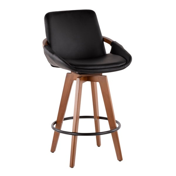 Cosmo Mid-Century Counter Stool in Walnut and Faux Leather. Opens flyout.