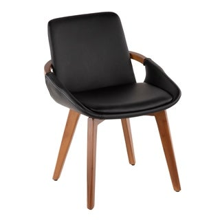 Cosmo Mid-Century Modern Chair in Walnut and Faux Leather