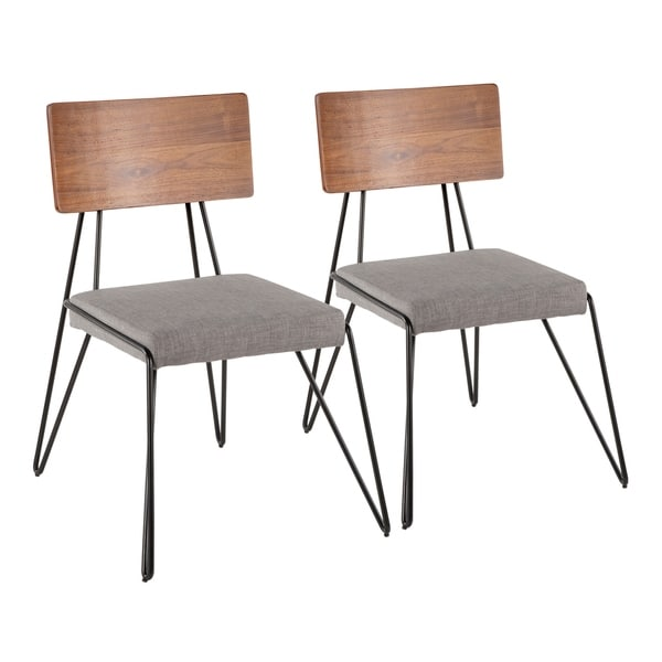 Loft Mid-Century Modern Chair with Walnut Wood Accent - Set of 2