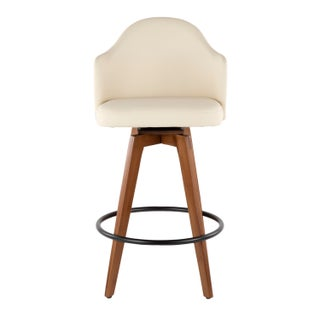 Ahoy Mid-Century Counter Stool in Walnut and Faux Leather