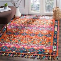 Safavieh Handmade Aspen Bohemian Southwestern Orange / Fuchsia Wool Tassel Area Rug - 6' x 9'
