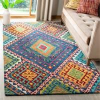 Safavieh Handmade Aspen Kira Tribal Boho Blue/ Multi Wool Rug - 5' X 8'