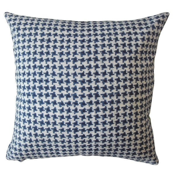 Halle Houndstooth Throw Pillow Blue