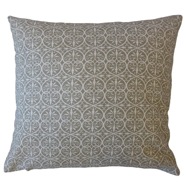 Kamber Damask Throw Pillow Pewter