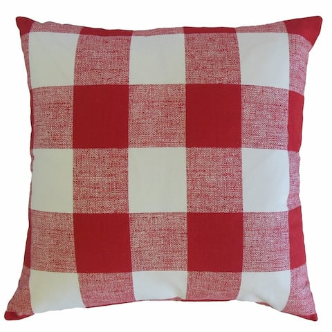 Yeriel Plaid Throw Pillow Red