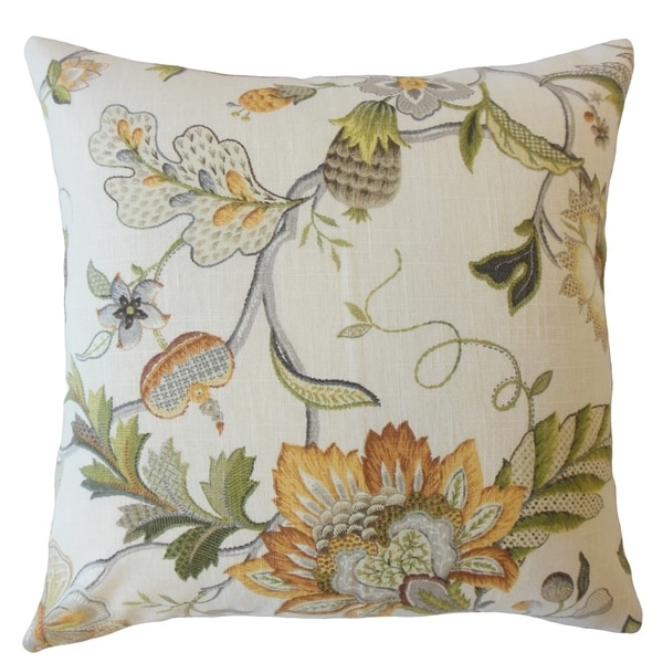 Fayre Floral Throw Pillow Yellow
