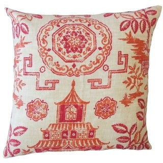 Habiki Chinoiserie Throw Pillow Persimmon