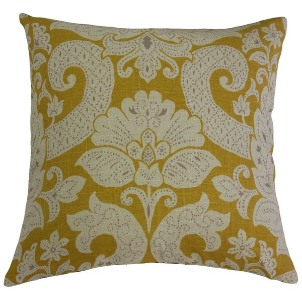 Danil Damask Throw Pillow Yellow