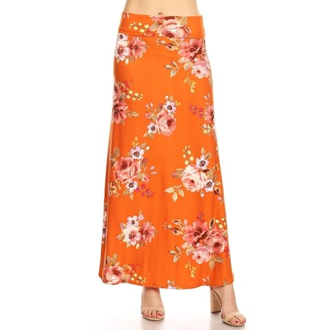 Women's Casual Pattern A-Line Elastic Waist Maxi Skirt