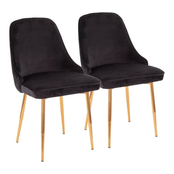 Marcel Contemporary-Glam Velvet Dining Chair - Set of 2 - N/A