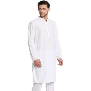 Handmade Men's Banded Collar Long White Tunic Kurta With Embroidery