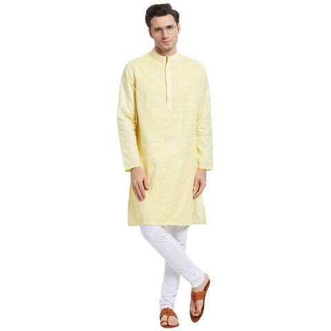 Handmade Men's Indian Mandarin Collar Long Vintage Style Kurta Tunic