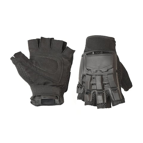 ALEKO Medium Paintball Airsoft Half Finger Gloves Black