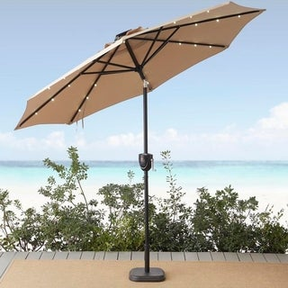 Sun-Ray 9' Round 8Rib Alumnm Bluetooth Solar Lighted Umbrella